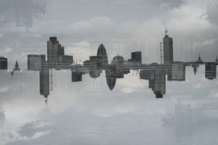 Multiple exposure of cityscape and cloudy sky, London, England, UKの写真素材 [FYI04323462]