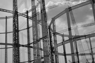 Multi-layered image of Hackney Gasometer, London, England, UKの写真素材 [FYI04323474]