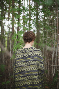 Rear view of woman standing in forestの写真素材 [FYI04323636]