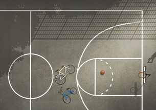 View from above bicycles and basketball on basketball courtのイラスト素材 [FYI04323648]