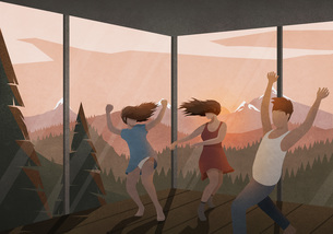 Carefree friends dancing in house with sunset mountain viewのイラスト素材 [FYI04323649]