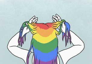 Woman with hands in rainbow hairのイラスト素材 [FYI04323651]