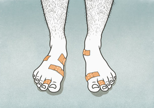 Bandages covering blisters on mans feetのイラスト素材 [FYI04323652]