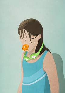 Wet girl in bathing suit with fish in mouthのイラスト素材 [FYI04323653]