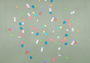 Variety of medication pills and capsulesのイラスト素材 [FYI04323656]