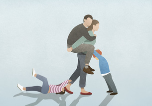 Woman burdened by husband on back and children pulling and pushingのイラスト素材 [FYI04323657]