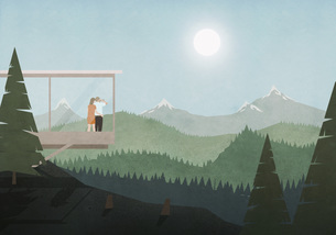 Couple looking at idyllic, sunny mountain and forest view from glass houseのイラスト素材 [FYI04323663]