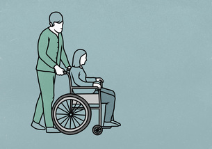 Male nurse pushing woman in wheelchairのイラスト素材 [FYI04323665]