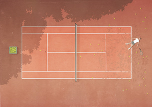 View from above defeated man laying on clay tennis court surrounded by tennis ballsのイラスト素材 [FYI04323667]
