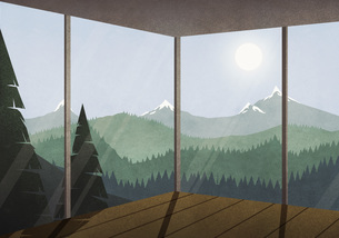 View of sun shining over idyllic mountain and forest landscape from glass houseのイラスト素材 [FYI04323669]