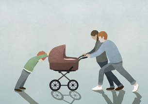 Child resisting parents pushing baby strollerのイラスト素材 [FYI04323672]