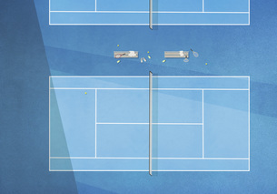 View from above blue tennis courtのイラスト素材 [FYI04323673]