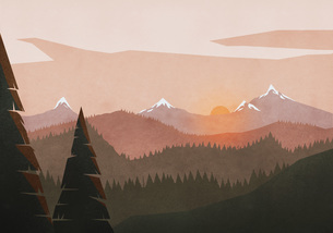 Idyllic, tranquil sunset view over mountain and forest landscapeのイラスト素材 [FYI04323676]