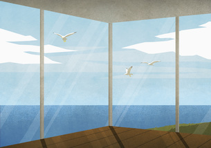 Seagulls flying outside beach house with ocean viewのイラスト素材 [FYI04323680]