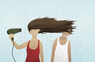 Woman blow drying hair in mans faceのイラスト素材 [FYI04323681]