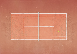 View from above tennis ball on clay tennis courtのイラスト素材 [FYI04323683]