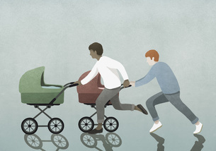 Fathers racing baby strollersのイラスト素材 [FYI04323686]
