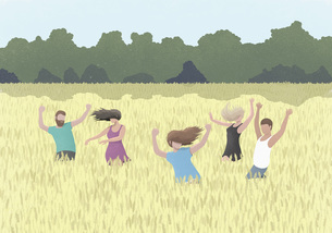 Carefree people dancing in rural wheat fieldのイラスト素材 [FYI04323690]