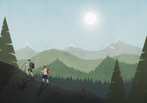 Men hiking along idyllic mountain and forest landscapeのイラスト素材 [FYI04323691]