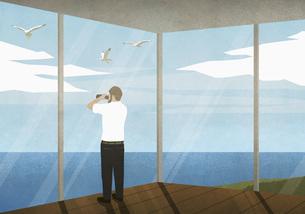 Man with binoculars enjoying ocean view from beach houseのイラスト素材 [FYI04323692]