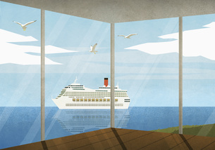 View of cruise ship moving along ocean from beach houseのイラスト素材 [FYI04323694]