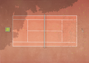 View from above tennis balls on clay tennis courtのイラスト素材 [FYI04323695]
