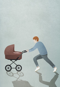 Father running with baby strollerのイラスト素材 [FYI04323697]