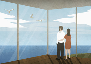 Couple enjoying ocean view from beach houseのイラスト素材 [FYI04323701]