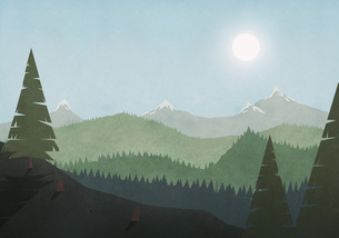 Sun shining over idyllic mountain and forest landscapeのイラスト素材 [FYI04323702]
