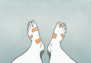 Personal perspective man with bandages covering blisters on feetのイラスト素材 [FYI04323703]