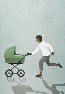 Father running with baby strollerのイラスト素材 [FYI04323704]