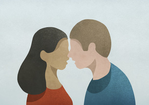 Couple face to faceのイラスト素材 [FYI04323706]