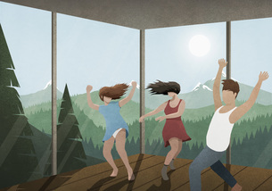 Carefree friends dancing in glass house with sunny mountain and forest viewのイラスト素材 [FYI04323709]