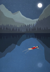 Moonlight shining over serene woman floating on back in tranquil mountain lakeのイラスト素材 [FYI04323714]