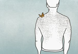 Butterfly on shoulder of man with hairy backのイラスト素材 [FYI04323718]