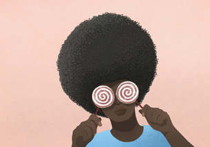 Portrait woman with afro holding lollipops over eyesのイラスト素材 [FYI04323719]
