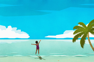 Exuberant woman wading in sunny tropical oceanのイラスト素材 [FYI04323720]