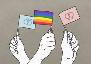 Opposing hands waving rainbow and gender flagsのイラスト素材 [FYI04323722]