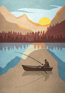Man fishing in boat on tranquil mountain lakeのイラスト素材 [FYI04323723]