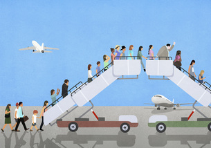 Passengers climbing and descending airport boarding stairsのイラスト素材 [FYI04323724]