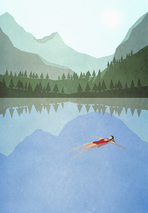 Serene woman floating on back in tranquil mountain lakeのイラスト素材 [FYI04323725]