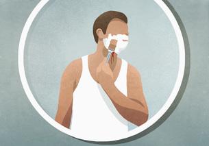 Man shaving his face, bleeding in mirrorのイラスト素材 [FYI04323726]