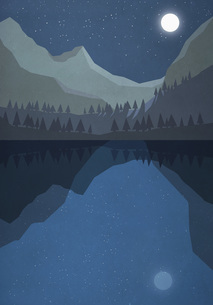 Moonlight shining over tranquil mountain lakeのイラスト素材 [FYI04323728]