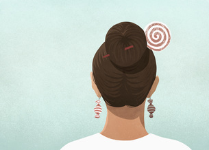 Woman wearing candy hair pin and earringsのイラスト素材 [FYI04323729]