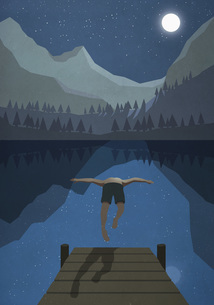 Moonlight shining over man jumping off dock into tranquil mountain lakeのイラスト素材 [FYI04323732]