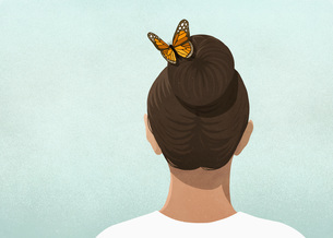 Butterfly in womans hairのイラスト素材 [FYI04323734]