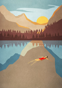 Serene woman floating on back in tranquil mountain lakeのイラスト素材 [FYI04323740]