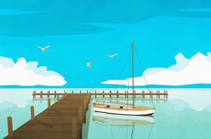 Sailboat moored at tranquil ocean dockのイラスト素材 [FYI04323741]