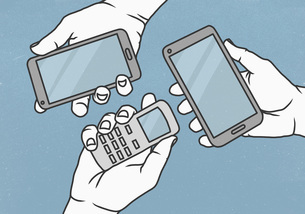View from above hands holding cell phone and smart phonesのイラスト素材 [FYI04323745]