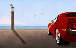 Red sports car parked at sunny ocean beachのイラスト素材 [FYI04323746]